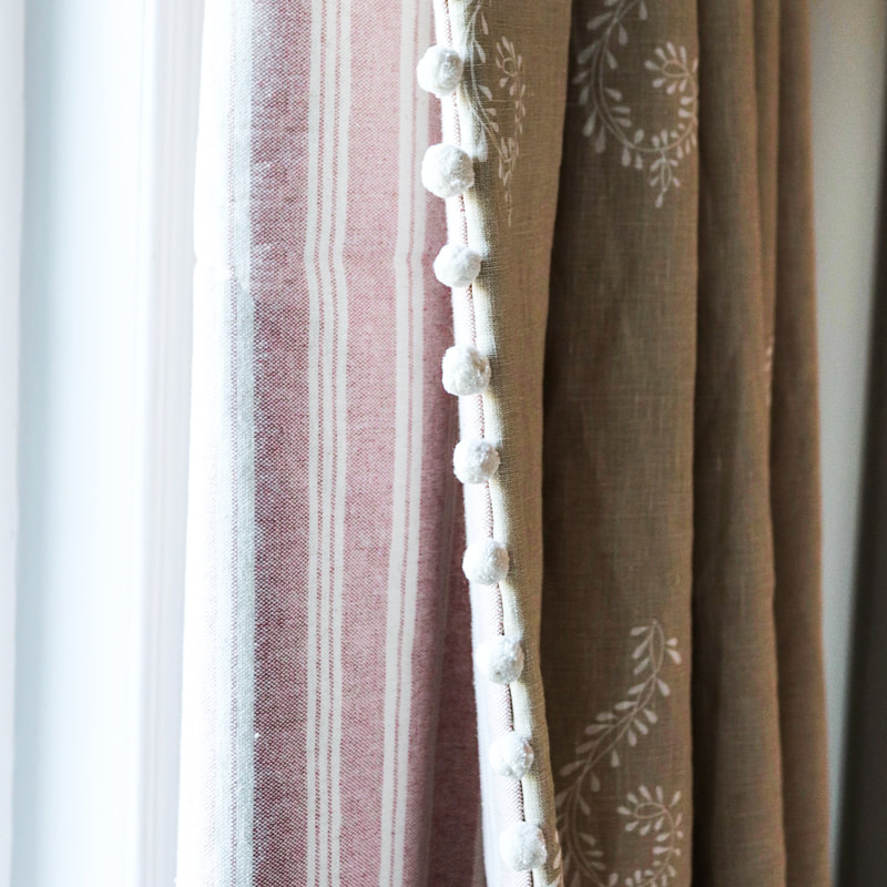 Double lined curtains, pink stripe curtain lining, pom pom fringe