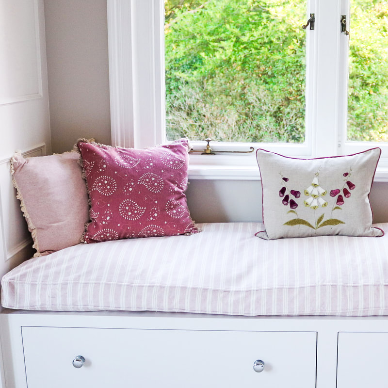 Master Bedroom pink, striped window seat cushion