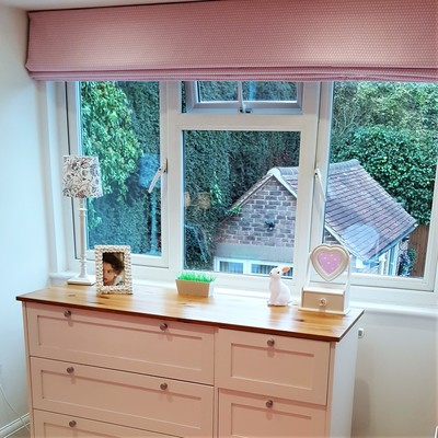 Girl's pink bedroom makeover, bespoke Roman Blind by lucyjinteriors Surrey