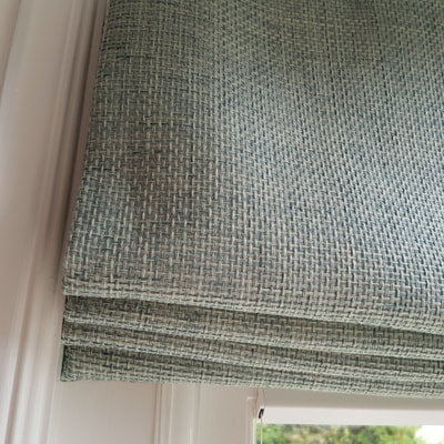 Bespoke Roman blind, Living room interior design Kingston by lucyjinteriors.co.uk