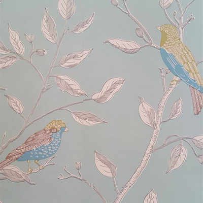 Duck Egg wallpaper Victorian Living room interior design Kingston by lucyjinteriors